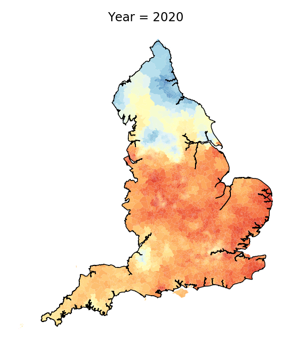 Map showing the prevalence of the use of thawing with the intrusive r in 2020. (University of Portsmouth/PA)