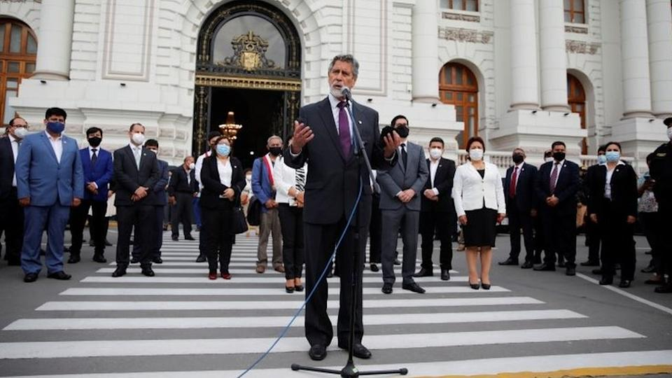 Francisco Sagasti addresses the media after he was elected by Congress as Peru's interim president, in Lima, November 16, 2020
