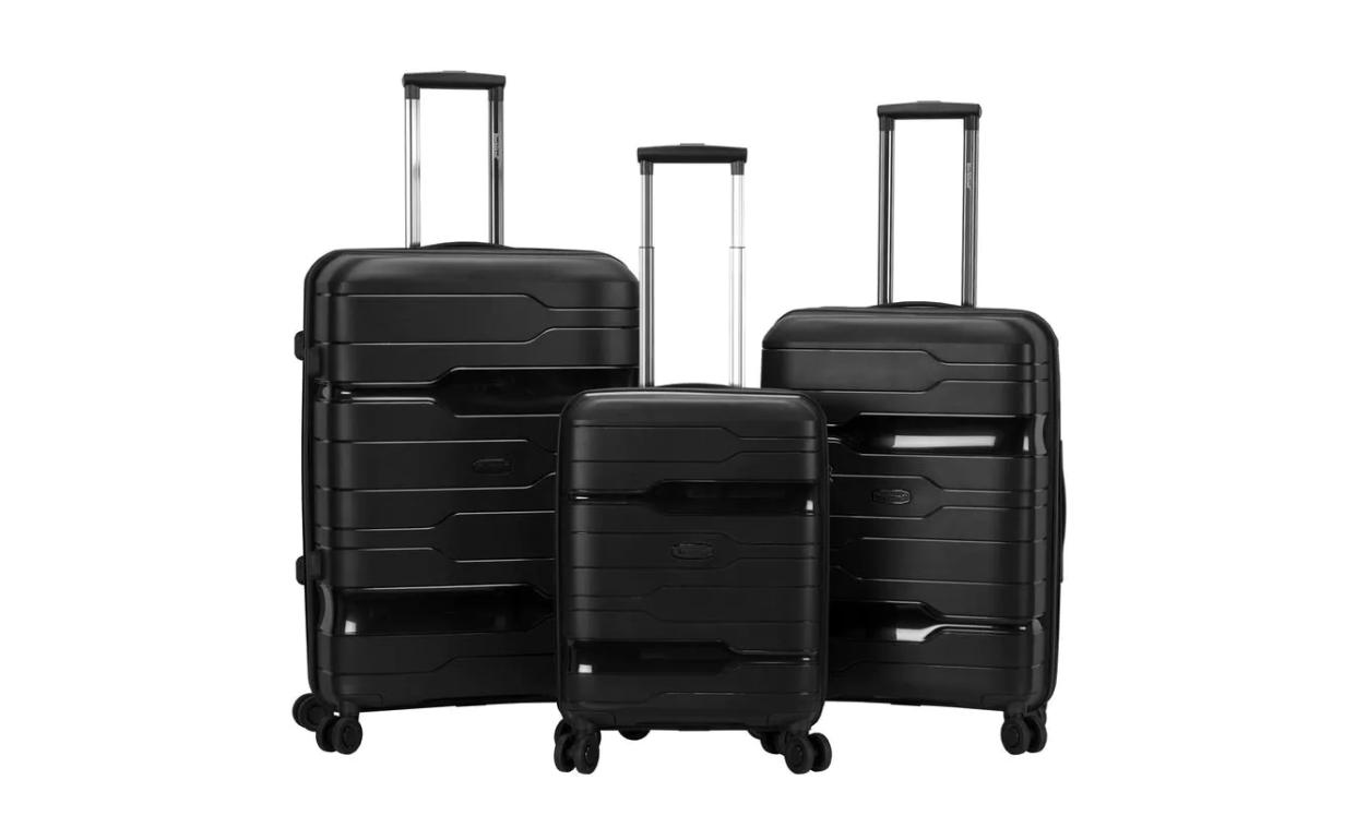 Score half off this top-rated luggage trio, made of sturdy hard-side polypropylene. (Photo: The Home Depot)