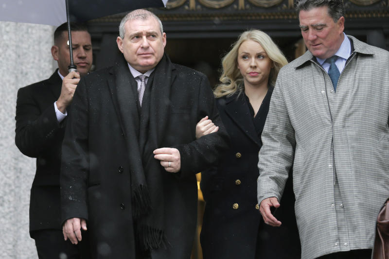 Lev Parnas, second from left, arrives to court in New York, Monday, Dec. 2, 2019. Parnas and Igor Fruman, close associates to U.S. President Donald Trump's lawyer Rudy Giuliani, were arrested last month at an airport outside Washington while trying to board a flight to Europe with one-way tickets. They were later indicted by federal prosecutors on charges of conspiracy, making false statements to the Federal Election Commission and falsification of records. (AP Photo/Seth Wenig)