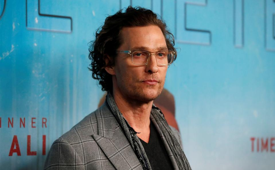 Executive producer Matthew McConaughey poses at the premiere for season 3 of the television series
