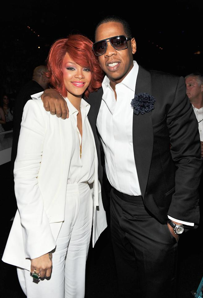 LAS VEGAS, NV - MAY 22:  Singer Rihanna and rapper Jay-Z pose in the audience during the 2011 Billboard Music Awards at the MGM Grand Garden Arena May 22, 2011 in Las Vegas, Nevada.  (Photo by Kevin Mazur/WireImage)
