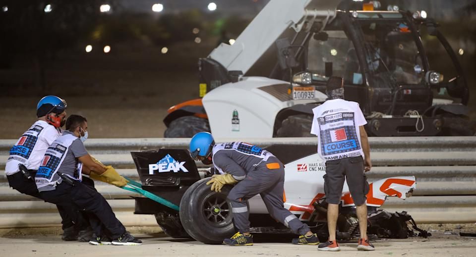 <p>The rear section of Grosjean's car ripped apart from the cockpit</p>AFP via Getty