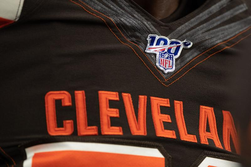 INDIANAPOLIS, IN - AUGUST 17: A detail view of the NFL 100 year logo on a Browns uniform before the week 2 NFL preseason game between the Cleveland Browns and the Indianapolis Colts on August 17, 2019 at Lucas Oil Stadium, in Indianapolis, IN. (Photo by Zach Bolinger/Icon Sportswire via Getty Images)