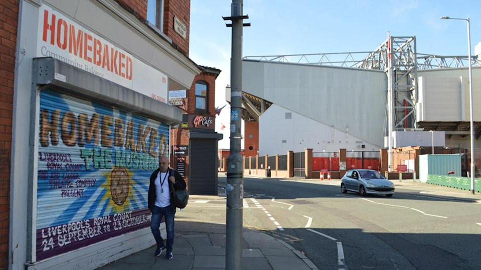 Homebaked bakery with Anfield Stadium in Liverpool