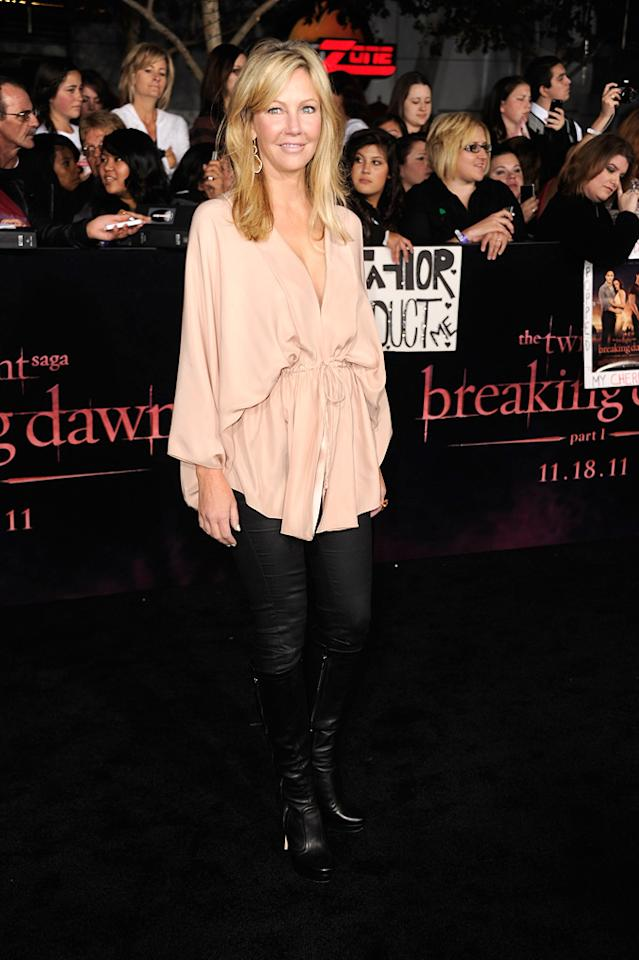 "<a href=""http://movies.yahoo.com/movie/contributor/1800048028"">Heather Locklear</a> at the Los Angeles premiere of <a href=""http://movies.yahoo.com/movie/1810158314/info"">The Twilight Saga: Breaking Dawn - Part 1</a> on November 14, 2011."