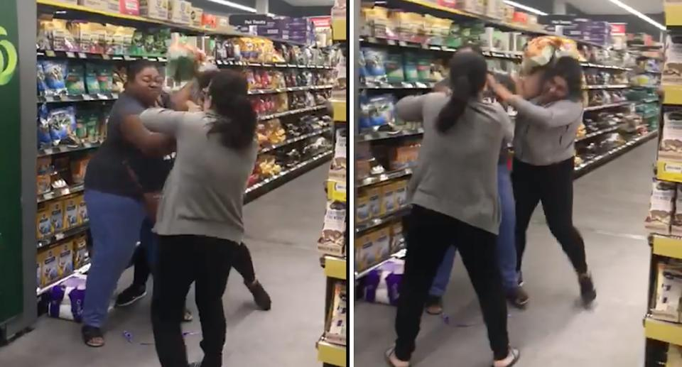 Shoppers can be seen fighting in the Woolworths aisle.