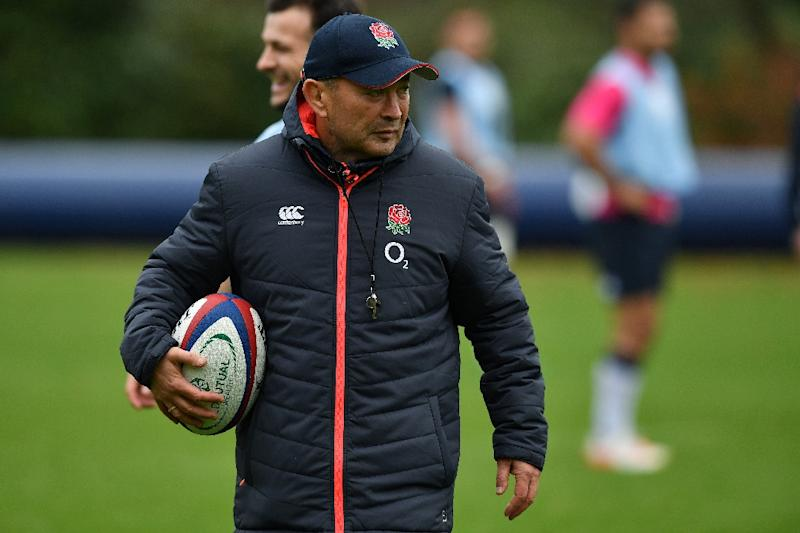 England head coach Eddie Jones (centre) takes a team training session at their Pennyhill Park factility in Bagshot, south-east England, on November 24, 2016