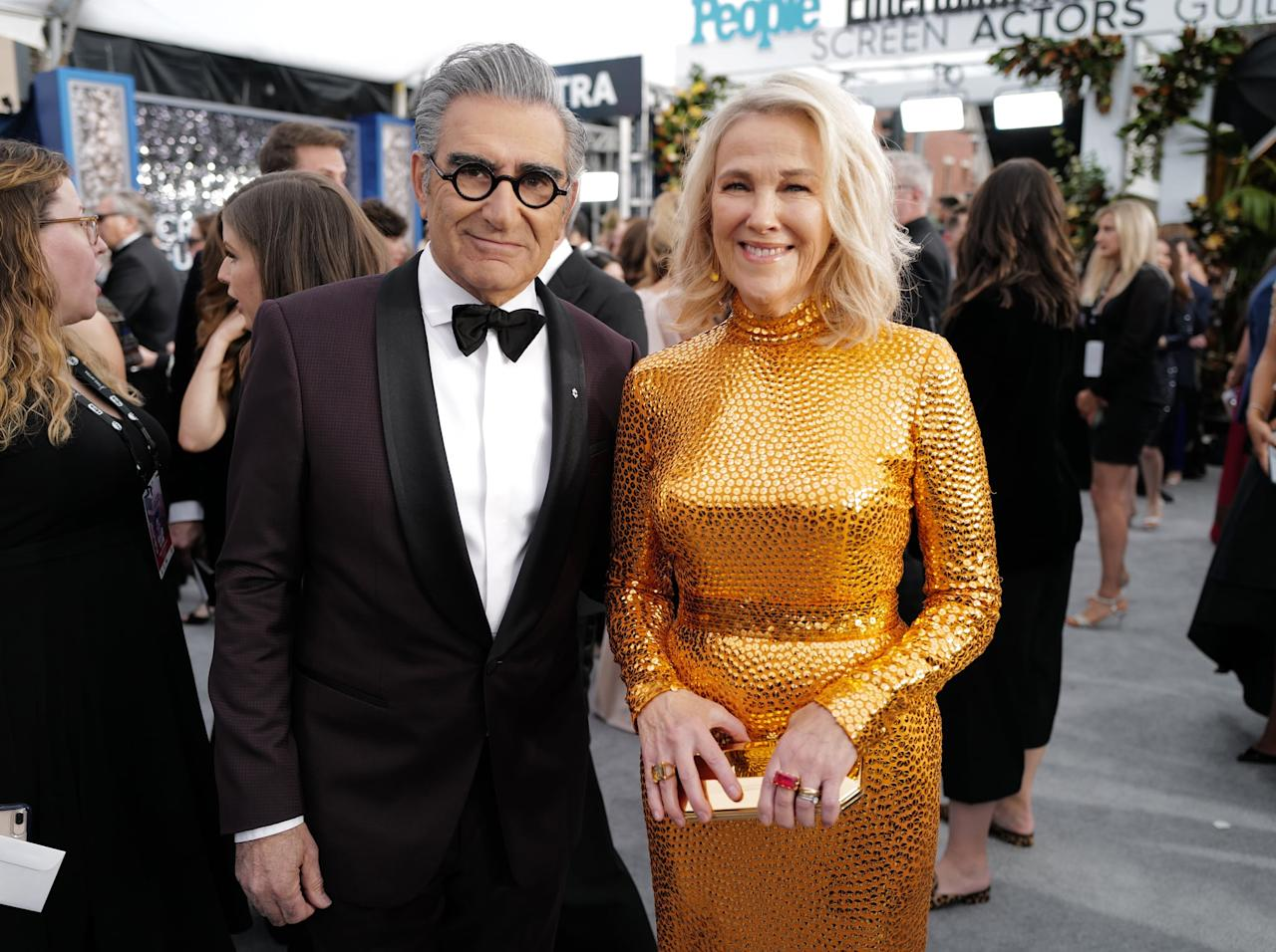 """<ul> <li><strong>On <a href=""""http://www.buzzfeed.com/jarettwieselman/eugene-levy-and-catherine-ohara-look-back-on-their-40-year-f"""" target=""""_blank"""" class=""""ga-track"""" data-ga-category=""""internal click"""" data-ga-label=""""http://www.buzzfeed.com/jarettwieselman/eugene-levy-and-catherine-ohara-look-back-on-their-40-year-f"""" data-ga-action=""""body text link"""">why she and Eugene work so well together</a></strong>: """"[W]ith Eugene - this is the lovely thing about working with a friend who you love and respect, and I really love and respect Eugene - he is really funny, he's very thoughtful in his work, he's a great writer, and a great actor. So even when it gets into an argument, I believe that there's no other crap in the way, it's all about making this the best it can be. And I hope he believes the same of me. It's great.""""</li> <li><strong>On <a href=""""http://www.hollywoodreporter.com/live-feed/schitts-creeks-eugene-levy-catherine-761841"""" target=""""_blank"""" class=""""ga-track"""" data-ga-category=""""internal click"""" data-ga-label=""""http://www.hollywoodreporter.com/live-feed/schitts-creeks-eugene-levy-catherine-761841"""" data-ga-action=""""body text link"""">what she's learned from Eugene about comedy</a>: </strong>""""Eugene wrote more group scenes than anyone else on <strong>SCTV</strong>. His writing was and is very clean and precise. He's generous in his writing great material for others but he doesn't overwrite. His writing inspires and leaves lots to the imagination.""""</li> </ul>"""