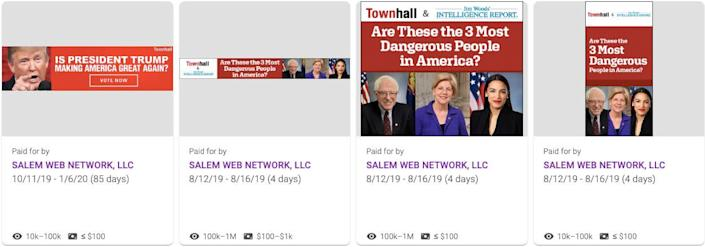 Christian web conglomerate Salem Web Network also runs Google ads with partisan, clickbait polls to obtain people's email addresses. (Photo: Salem Web Network/Google)