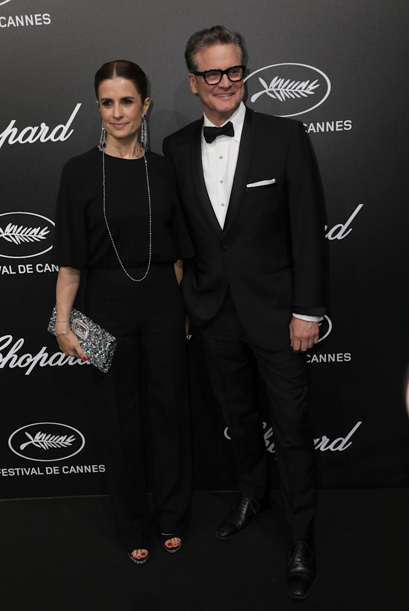 Producer Livia Giuggioli, left, and actor Colin Firth pose for photographers upon arrival at the Chopard Trophee event at the 72nd international film festival, Cannes, southern France, Monday, May 20, 2019. (Photo by Vianney Le Caer/Invision/AP) ORG XMIT: LENT213