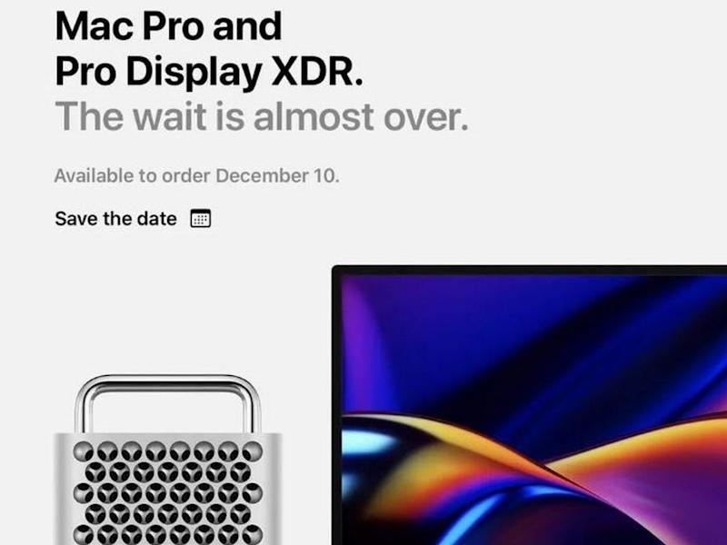 Mac Pro and Pro Display XDR ;save the date' mail.