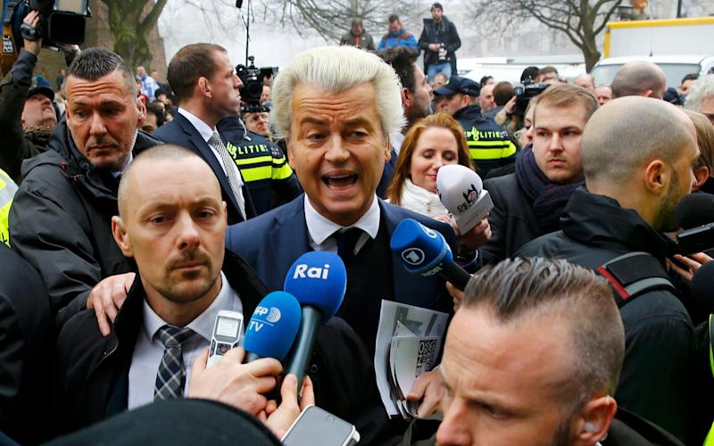 Geert Wilders campaigns in Spijkenisse, a suburb of Rotterdam - Credit: Michael Kooren/Reuters