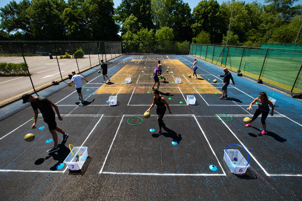 A David Lloyd Club in Chigwell, Essex, prepares for re-opening with a range of new outdoor activities. (PA)