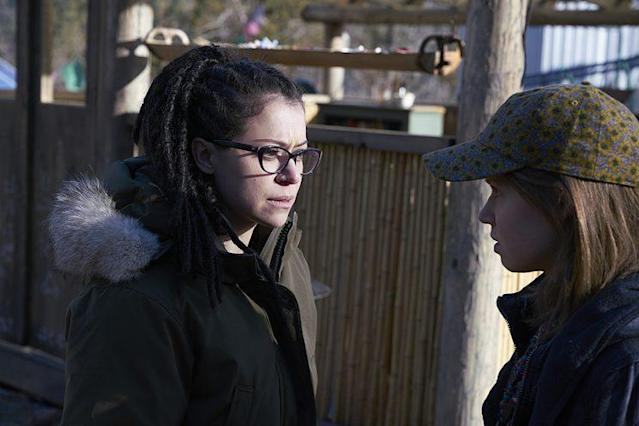 Maslany as Cosima and Jenessa Grant as Mud in 'Orphan Black.' (Photo Credit: Ken Woroner/BBC America)