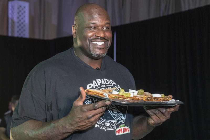 Former professional basketball player and Papa John's Board of Directors member, Shaquille O'Neal, teams up with Papa John's to celebrate the launch of the brand's all new Papadia at Shaq's Fun House on Friday, Jan. 31, 2020 in Miami. (Manuel Mazzanti/AP Images for Papa John's Pizza)