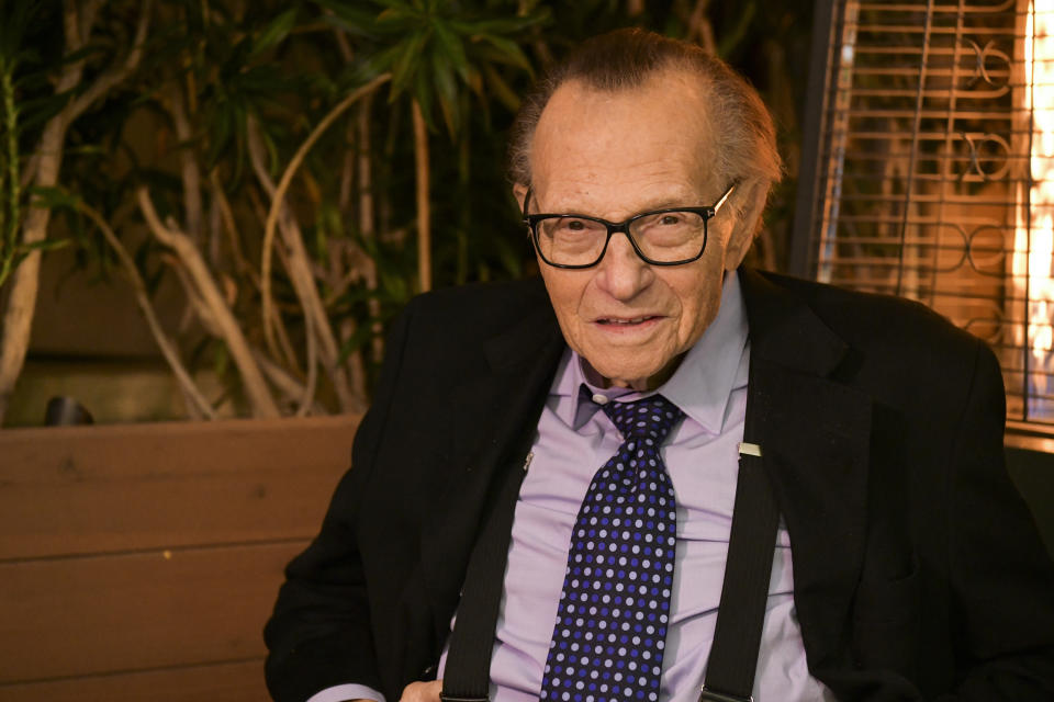 BEVERLY HILLS, CALIFORNIA - NOVEMBER 25: Larry King poses for portrait as the Friars Club and Crescent Hotel honor him for his 86th birthday at Crescent Hotel on November 25, 2019 in Beverly Hills, California. (Photo by Rodin Eckenroth/Getty Images)