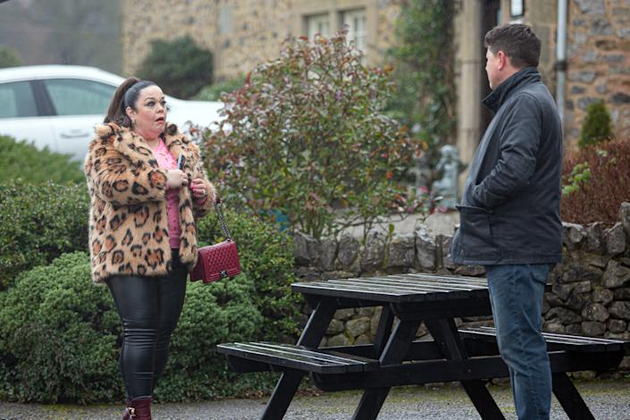 FROM ITV  STRICT EMBARGO  Print media - No Use Before Tuesday 23rd February 2021 Online Media - No Use Before 0700hrs  Tuesday 23rd February 2021  Emmerdale - Ep 8983  Tuesday 2nd March 2021  Mandy Dingle's [LISA RILEY] emotional when Paul Ashdale [REECE DINSDALE] organises a family cycling trip at HOP.   Picture contact David.crook@itv.com   This photograph is (C) ITV Plc and can only be reproduced for editorial purposes directly in connection with the programme or event mentioned above, or ITV plc. Once made available by ITV plc Picture Desk, this photograph can be reproduced once only up until the transmission [TX] date and no reproduction fee will be charged. Any subsequent usage may incur a fee. This photograph must not be manipulated [excluding basic cropping] in a manner which alters the visual appearance of the person photographed deemed detrimental or inappropriate by ITV plc Picture Desk. This photograph must not be syndicated to any other company, publication or website, or permanently archived, without the express written permission of ITV Picture Desk. Full Terms and conditions are available on  www.itv.com/presscentre/itvpictures/terms