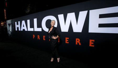"Cast member Curtis poses at a premiere for the movie ""Halloween"" in Los Angeles"