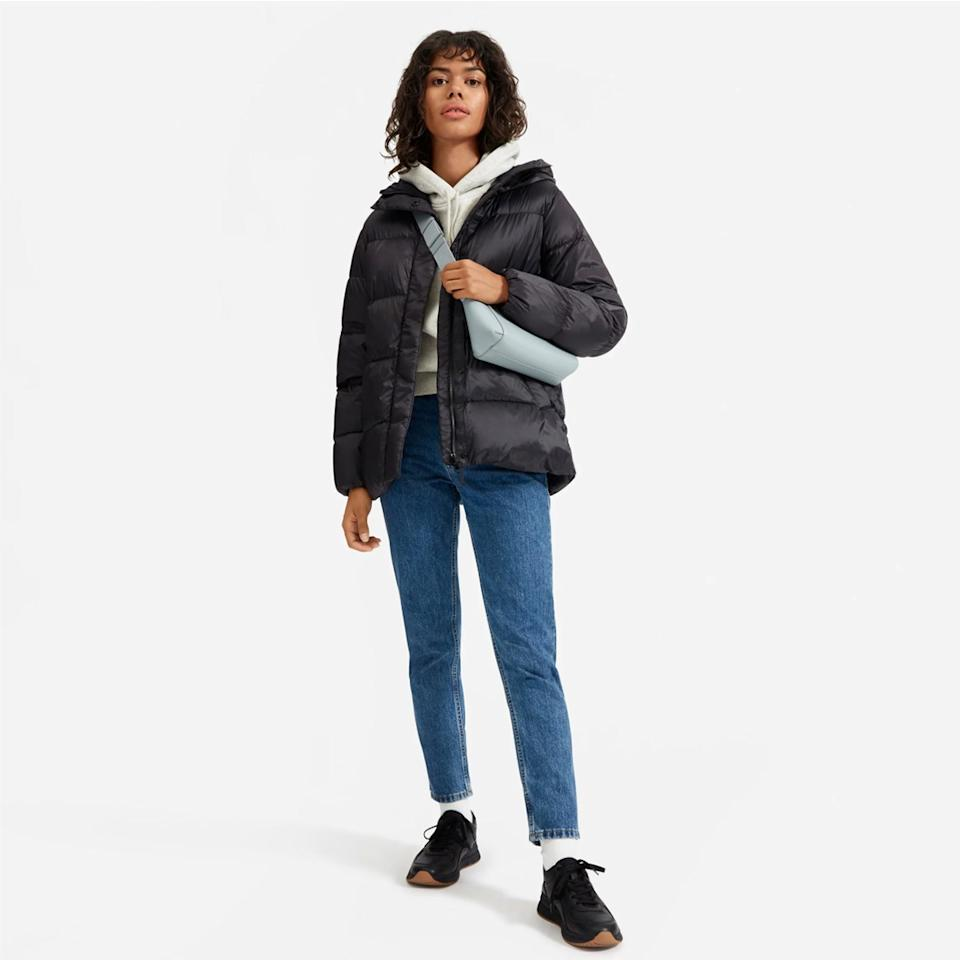 """Everlane carries just about <a href=""""https://www.glamour.com/gallery/everlane-choose-what-you-pay-sale-what-to-buy?mbid=synd_yahoo_rss"""">every wardrobe essential</a> you can think of, including puffer jackets. This one is especially good for anyone looking for a down alternative, since the inner fill is made from recycled materials and the water-resistant outer shell is made of recycled plastic bottles. $168, Everlane. <a href=""""https://www.everlane.com/products/womens-redown-puffy-puff-cobalt"""">Get it now!</a>"""