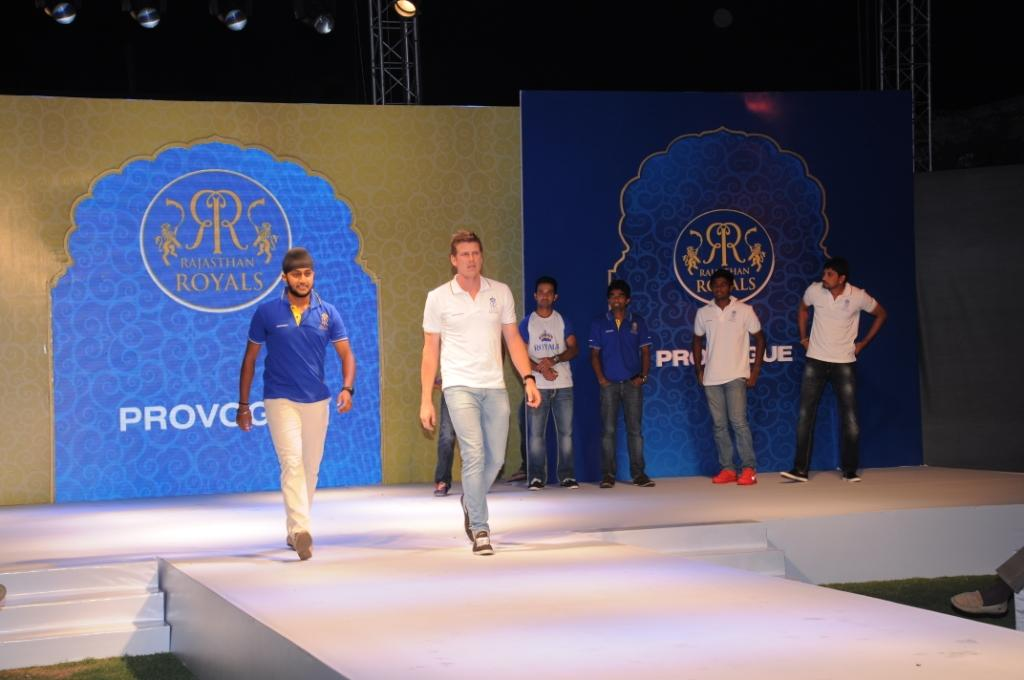 Rajasthan Royals Harmeet Singh and James Faulkner walk on the ramp at the Rajasthan Royals-Provogue Fanwear Launch at Hotel Marriott in Jaipur on Monday