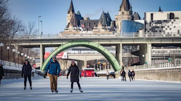 Looking north on Ottawa's Rideau Canal Skateway toward the Château Laurier and Shaw Centre in February 2021. The canal was open a mere 26 days this winter.