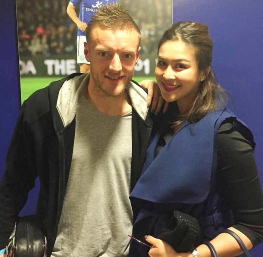 Nusara Suknamai, a former Miss Thailand Universe competitor who was also tragically killed, pictured in a social media image with Leicester striker Jamie Vardy. (Instagram)