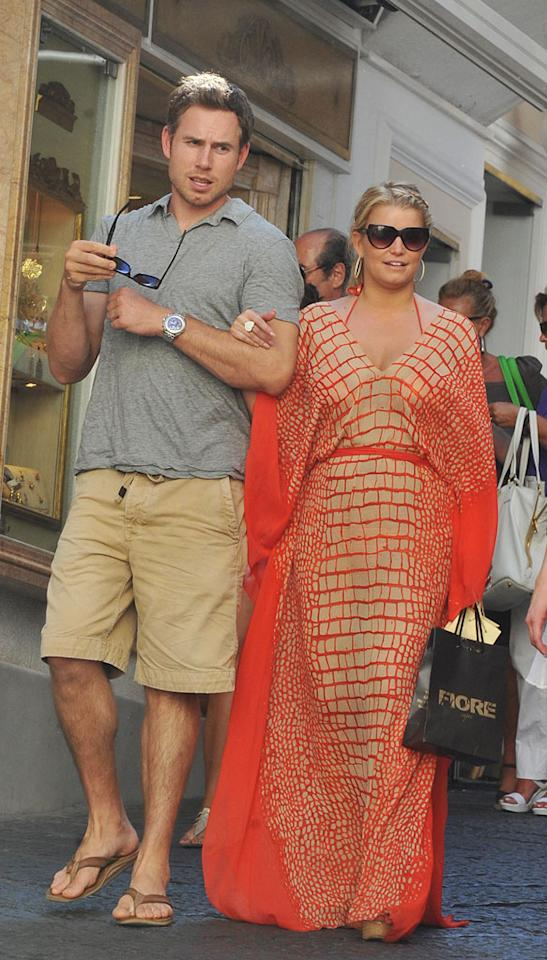 "Celebrating her 30th birthday in style, Jessica Simpson was spotted out and about in Capri, Italy, with her new beau, ex-NFL player Eric Johnson Friday. Though the couple met only a few weeks ago, Simpson has already been introduced to the footballer's family. Grifoni Sarmiento/<a href=""http://www.splashnewsonline.com"" target=""new"">Splash News</a> - July 9, 2010"