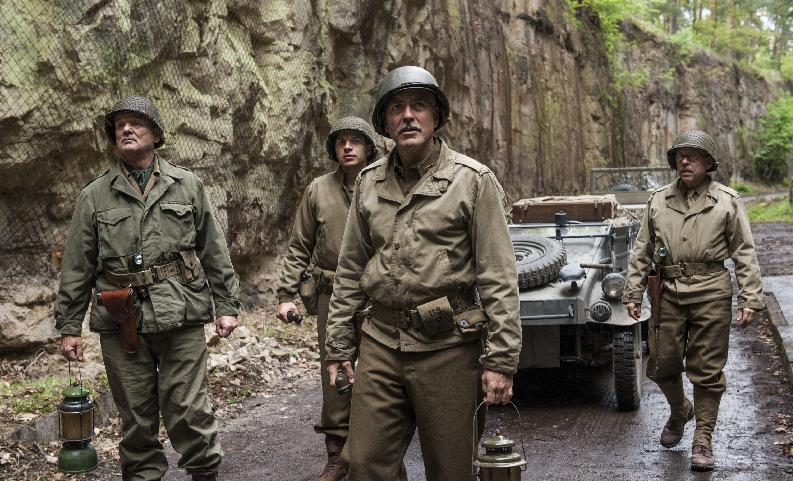 "This image released by Columbia Pictures shows, from left, Bill Murray, Dimitri Leonidas, George Clooney and Bob Balaban in ""The Monuments Men."" (AP Photo/Columbia Pictures, Claudette Barius)"