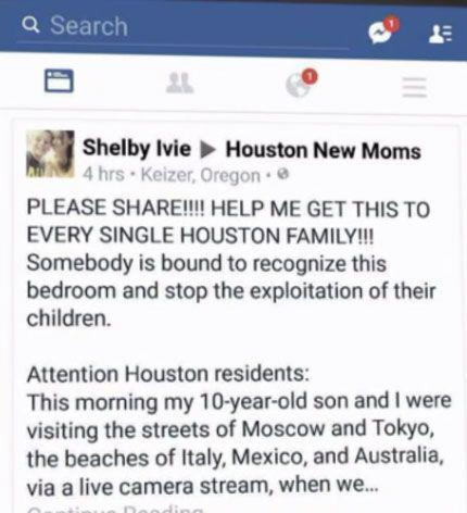 Shelby Ivie posted a picture of the girls' room on the Houston mothers' Facebook group in an effort to track down and warn the family.. Photo: Facebook