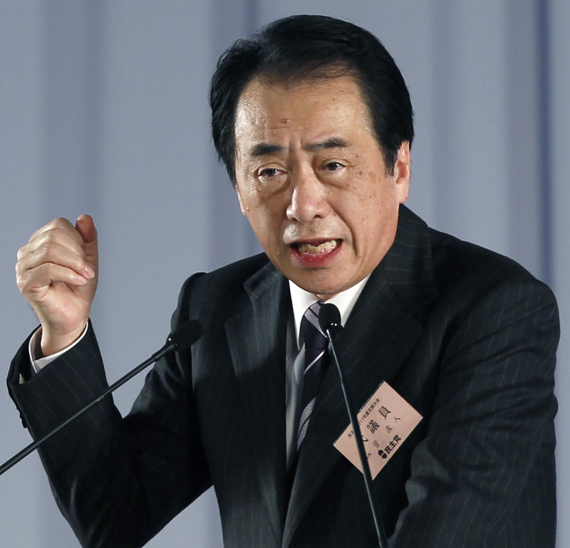 Japanese Prime Minister Naoto Kan speaks during a regular convention of his Democratic Party of Japan in Chiba, near Tokyo, Thursday, Jan. 13, 2011. (AP Photo/Shizuo Kambayashi)