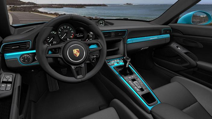 <p>I'd get a little sassy with the interior because when I'm already dumping $275K into this thing, $1700 to paint the air vents Miami blue to match the exterior simply doesn't matter. Gotta get the key, interior trim, and climate panel painted that hue, too. Plus, Miami Blue seatbelts. Why not? I'm not ticking the box for heated seats, sadly, because these carbon buckets (which don't offer heating elements) are too comfy and too supportive to replace with the power-adjustable seats that do.</p>