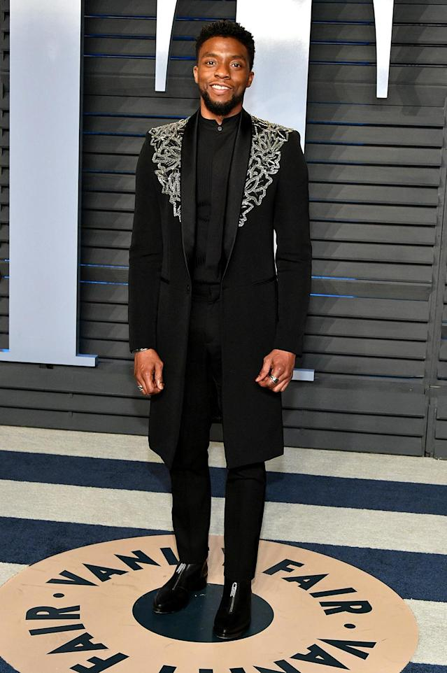 <p>The Black Panther actor's Givenchy topcoat was praised for its regal Wakanda vibe. (Photo: Dia Dipasupil/Getty Images) </p>