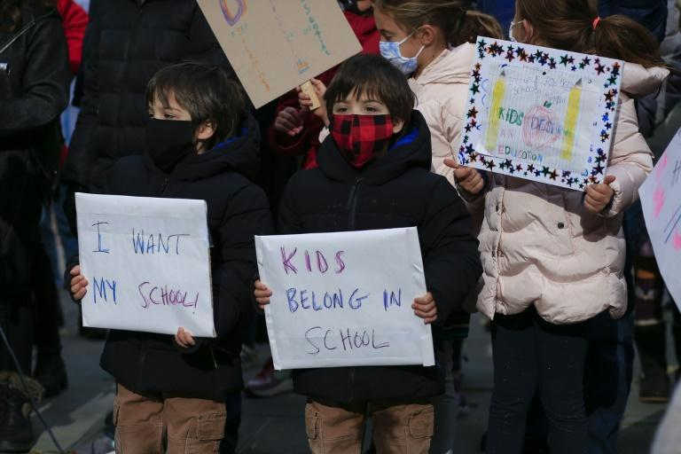 Children participate in a protest in New York calling for schools to reopen in November 2020
