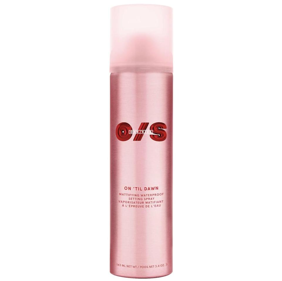 <p>As the name suggests, the <span>One/Size by Patrick Starrr On 'Til Dawn Mattifying Waterproof Setting Spray</span> ($30) has one goal, and it's to keep your makeup on till dawn. It is waterproof and promises to mattify skin for all-day, budge-proof results. While the witch hazel is meant to absorb oil, the green-tea extract helps to minimize the appearance of pores. The can itself is about the size of a hairspray bottle, which is helpful in case you're generous with spritzing, like I am. I used this one on night two.</p>