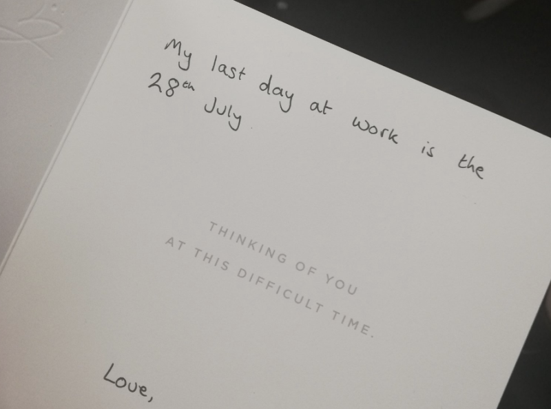 A man gave his boss a condolence card to announce his resignation (Credit: Twitter)