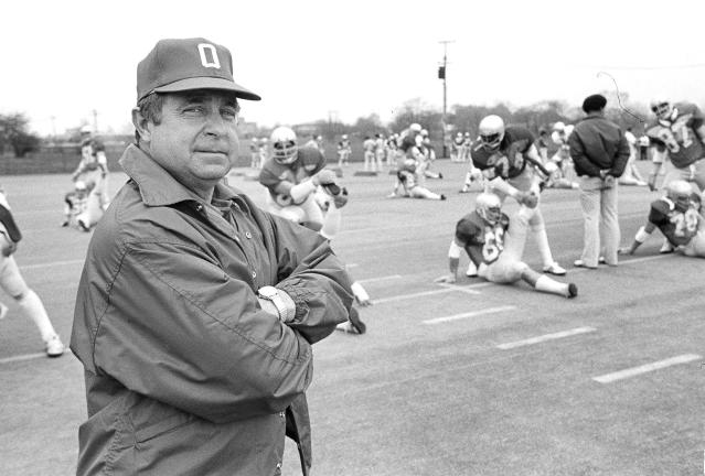 FILE - In this April 25, 1979, file photo, Ohio State football coach Earle Bruce poses during spring practice before the annual Red-White game at Ohio Stadium in Columbus, Ohio. Bruce died in Columbus, Ohio at the age of 87, according to a statement released by his daughters through Ohio State on Friday. Hed been suffering from Alzheimers disease. (AP Photo/KFM)