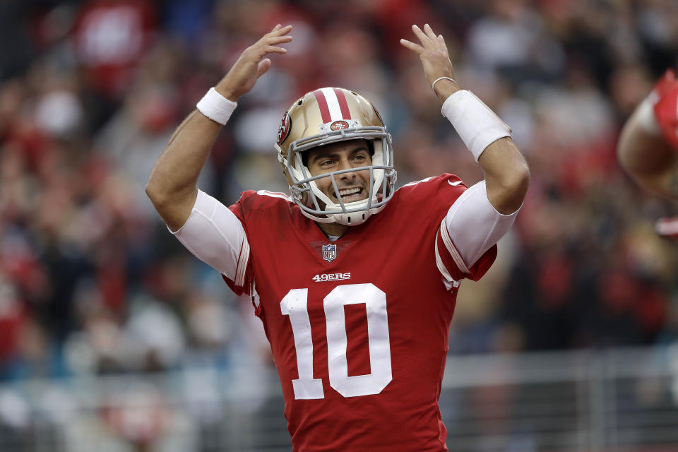 Jimmy Garoppolo has given 49ers fans a lot of reasons to be excited for 2018. (AP)