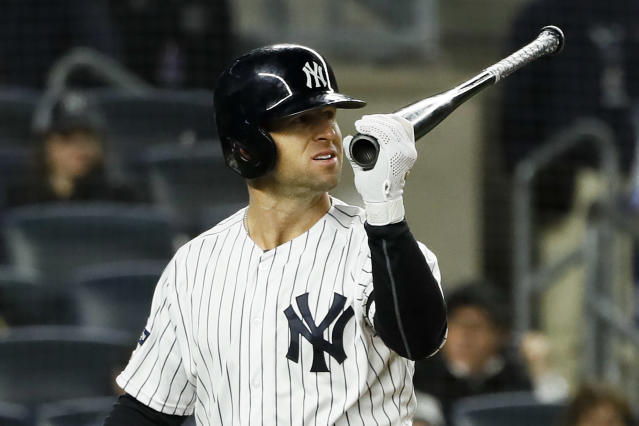 New York Yankees' Brett Gardner reacts after striking out against the Houston Astros during the eighth inning in Game 4 of baseball's American League Championship Series Thursday, Oct. 17, 2019, in New York. (AP Photo/Matt Slocum)