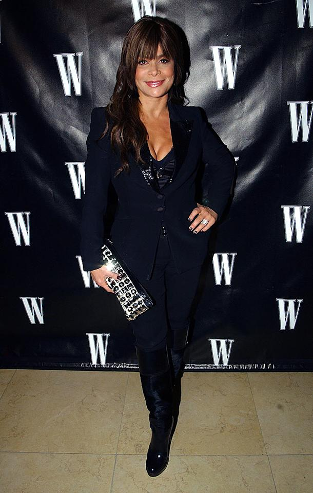 """Paula Abdul arrives at W Magazine's Hollywood Affair pre-Oscar party at the Sunset Tower. The """"American Idol"""" judge sparkles in her equestrian-themed ensemble. Mike Guastella/<a href=""""http://www.wireimage.com"""" target=""""new"""">WireImage.com</a> - February 20, 2008"""