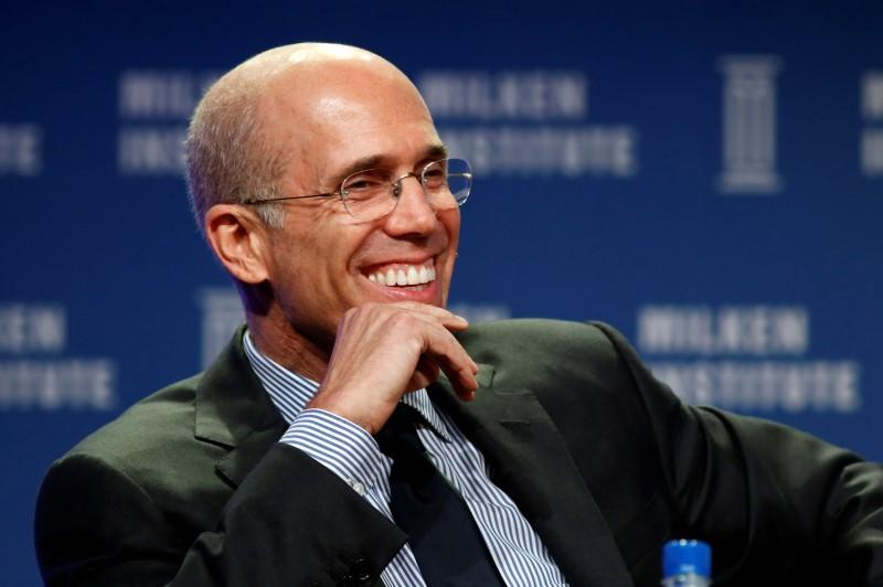 Jeffrey Katzenberg, CEO of Dreamworks Animation, speaks at the 2014 Milken Institute Global Conference in Beverly Hills