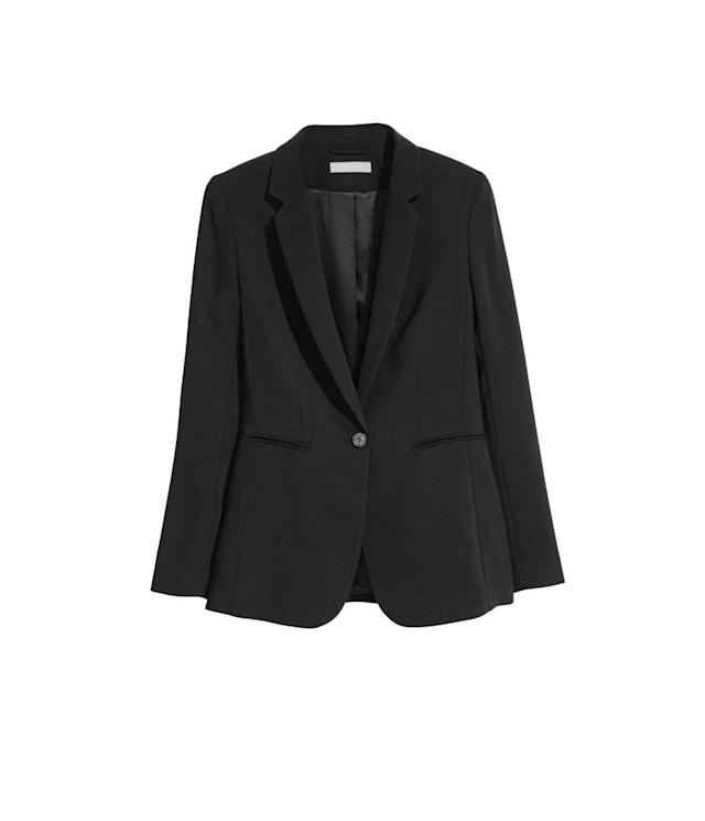 "<p>Fitted Blazer, $40,<a href=""http://www.hm.com/us/product/69260?article=69260-A"" rel=""nofollow noopener"" target=""_blank"" data-ylk=""slk:hm.com"" class=""link rapid-noclick-resp""> hm.com</a> </p>"
