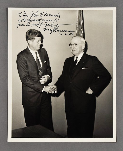 """JFK shakes hands with Harry Truman in 1959. The inscription reads: """"To Hon. John F. Kennedy with kindest regards from his good friend, Harry S. Truman, 12-2-59"""" <a href=""""http://www.mcinnisauctions.com/"""" rel=""""nofollow noopener"""" target=""""_blank"""" data-ylk=""""slk:(Photo courtesy of John McInnis Auctioneers)"""" class=""""link rapid-noclick-resp"""">(Photo courtesy of John McInnis Auctioneers)</a>"""