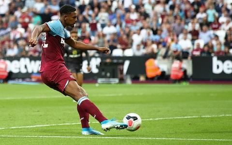 Sebastien Haller of West Ham shoots on goal during the Premier League match between West Ham United and Norwich City at London Stadium on August 31, 2019 in London, United Kingdom - Credit: Getty Images