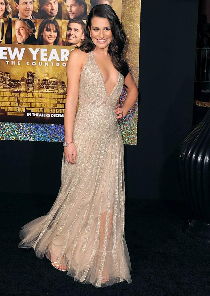 "Michelle's ""New Year's Eve"" co-star Lea Michele also turned plenty of heads in the shimmering nude Valentino halter gown she wore to the star-studded event. The ""Glee"" songstress looked hot ... and she knew it! (12/05/2011)"