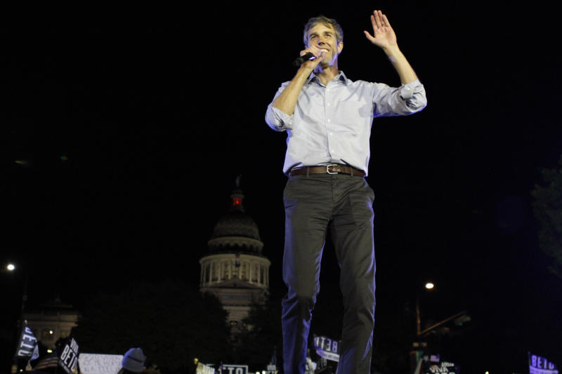 Democratic presidential candidate and former Texas congressman Beto O'Rourke speaks during his presidential campaign rally kickoff in Austin, Texas, in front of the pink-granite state Capitol, Saturday, March 30, 2019. (AP Photo/Clarice Silber)