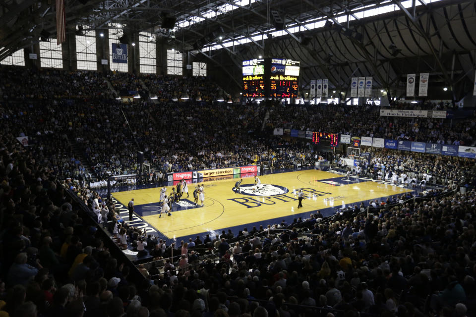 FILE - Hinkle Fieldhouse is shown in the second half of an NCAA college basketball game between Butler and Marquette in Indianapolis, in this Jan. 18, 2014, file photo. Hinkle Fieldhouse is one of six venues hosting NCAA Tournament games later this week. (AP Photo/Michael Conroy, File)