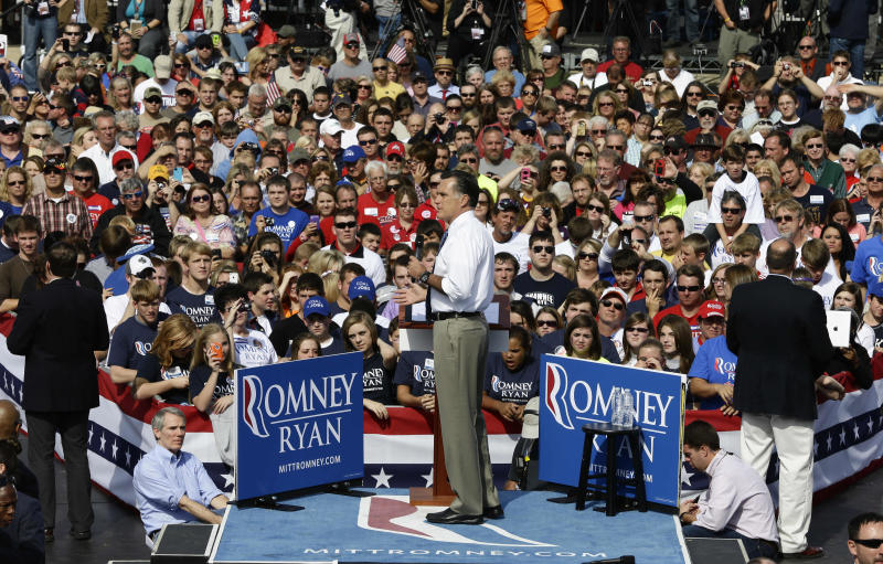 Republican presidential candidate and former Massachusetts Gov. Mitt Romney campaigns at Shawnee State University in Portsmouth, Ohio, Saturday, Oct. 13, 2012. (AP Photo/Charles Dharapak)