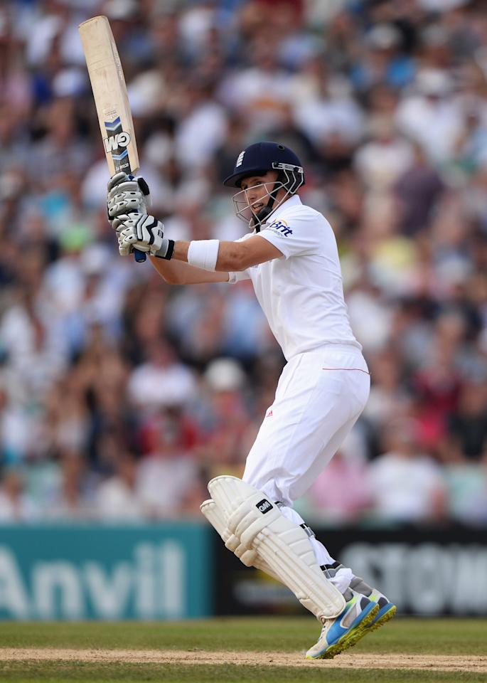 LONDON, ENGLAND - AUGUST 25: Joe Root of England hits out during day five of the 5th Investec Ashes Test match between England and Australia at the Kia Oval on August 25, 2013 in London, England. (Photo by Gareth Copley/Getty Images)