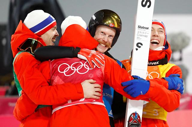 Ski Jumping - Pyeongchang 2018 Winter Olympics - Men's Team Final - Alpensia Ski Jumping Centre - Pyeongchang, South Korea - February 19, 2018 - Daniel Andre Tande, Andreas Stjernen, Johann Andre Forfang and Robert Johansson of Norway react to winning gold. REUTERS/Dominic Ebenbichler TPX IMAGES OF THE DAY